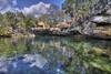 el jardin del eden (richietown) Tags: trees sky water topv111 clouds canon mexico topv555 topv333 rocks gardenofeden cenote rivieramaya hdr 30d sigma1020mm photomatix 3exp richietown eljardindeleden
