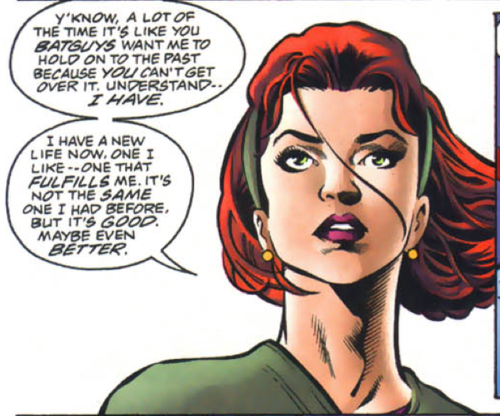 Barbara Gordon as Oracle, from an early Birds of Prey issue.Text: