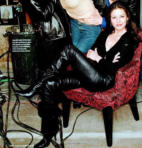 Catherine Zeta-Jones in leather pants