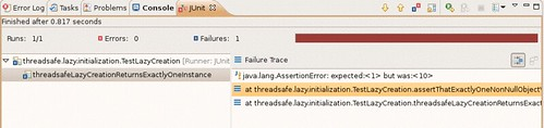 JUnit test case failure because the accessor is not threadsafe.