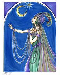 Riene du Ciel (miss_skittlekitty) Tags: blue moon feathers pearls erte