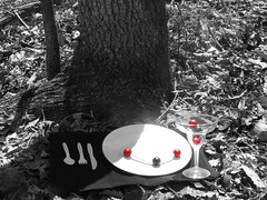 Monsieur (Sir Douglas Denzine [Please art in my face]) Tags: trees red white black dinner matt table glasses place silverware knife fork spoon romantic plates date carbon molecules