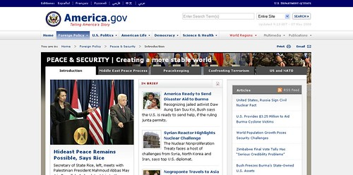 America.gov Peace & Security portal