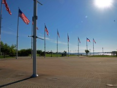 Veteran's Memorial Waterfront Park (darren bryden) Tags: park new sun port river arthur spring memorial downtown kill elizabeth waterfront manhattan nj flags american jersey bayonne veterans
