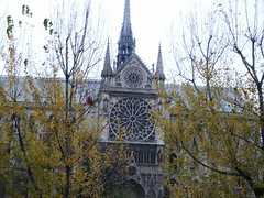 Notre Dame Rose Window Spires Nave View (DominusVobiscum) Tags: architecture catholic gothic saints churches cathedrals statues rivers buttresses