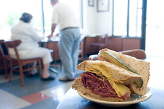 the corned beef (paul goyette) Tags: restaurant afternoon swiss indianapolis plate sandwich rye delicious mustard cafeteria cornedbeef shapiros