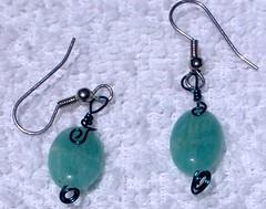 green stone & wire earrings