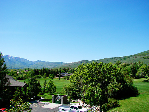 view of the golf course from the balcony