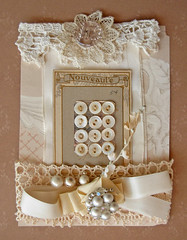 Vanilla Creme Art Candy Embellishment Pack (this good day) Tags: wallpaper white vintage crystal lace cottage tan cream earring pearls button vanilla ribbon seam binding posy millinery csst grosgrain buttoncard