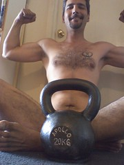 HNT - Mah noo kettlebell, let me show U it! (Oaktown Pirate) Tags: muscles tattoo camphone goatee burningman hnt apollo kettlebell 20kg