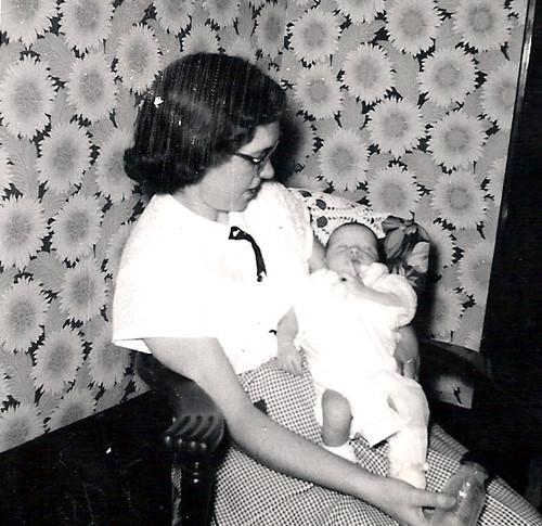 Jan.1957 Nancy & Cindy  @ weeks old_edited