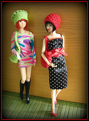 Crocheted hats and purses (Inger K) Tags: crochet snowwhite reba momoko meya militarygirl