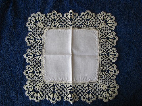 Cluny bobbin lace handkerchief edging