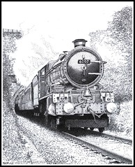 K.G.V. IN THE CHILTERNS (Norfolkboy1) Tags: england pen ink br buckinghamshire 6000 stipple rapidograph gwr bledlow chilternhills steamloco saunderton kinggeorgev originaldrawing kingclass panthonybromage