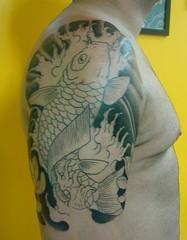 MARCONI: session 2. Tattoo exclusiva, em progresso. (marlon tattoos) Tags: fish tattoo japanese lotus style koi oriental exclusive marconi carpa tatuagem marlontattoos tattooartshop