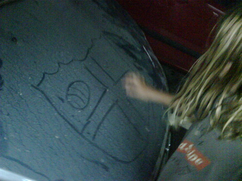 arel drawing on miguel's car
