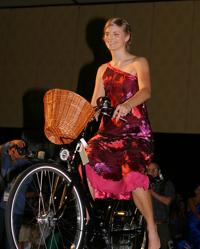 Red Dress and bike: Urban Legends Fashion Show Las Vegas / Interbike