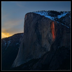 Horsetail Fall (Tony Immoos) Tags: california lighting sunset snow water sunshine rock landscape waterfall nationalpark glow landmark olympus explore yosemite yosemitenationalpark elcapitan sierranevada daytrip yosemitevalley horsetailfalls californialandscape caughtmyeye 15000views horsetailfall