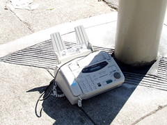 Freecycled Fax Machine by a Traffic Light