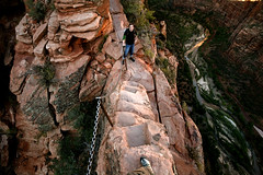 one foot on leap of faith (sgoralnick) Tags: andy utah scary hike angelslanding zionnationalpark myfoot andyclymer