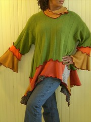 Funky Green, Orange and Grey Tunic Sweater (brendaabdullah) Tags: diy women jacket etsy deconstructed reconstructed restyled recycledwoolsweaters brendaabdullah oneofakindfashion