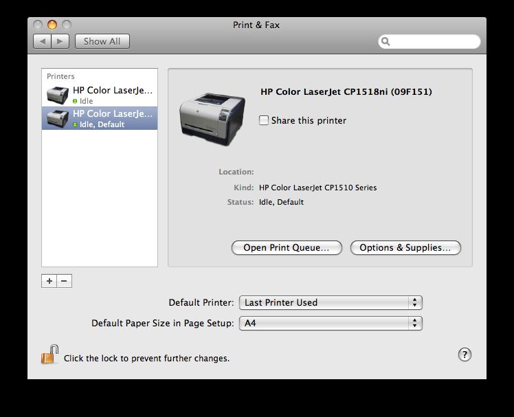 HP1518ni 네트워크 프린터로 인식된 상태