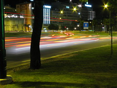 Light Trails, Lisbon (meddie47) Tags: road city canon lights lisbon trails lamplights