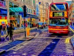 LondonFrac (james250) Tags: blue england blur colour bus london photoshop lights fuji bright image surreal oxford toned manipulate colourartaward james250