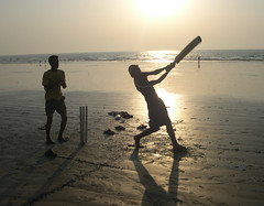 The spirit of the game (JimReeves) Tags: beach stroke cricket bombay silhoutte juhu batsman aplusphoto tadka0811week2 ppnov08 juhutarard ppexhibitiondec2008