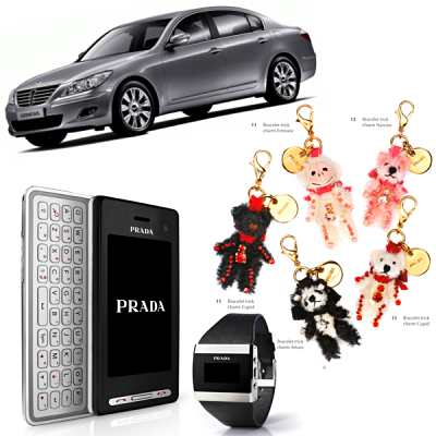 Prada Overdrive: phones, jewelry, cheaper handbags, their Holiday 2008 Gift Guide, and… a car?