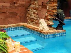PM018647 (FotoManiacNYC) Tags: blue sculpture brick art water pool architecture stairs garden nude hotel design hand oldsanjuan puertorico body handmade antique interior rustic steps patio made swimmingpool interiordesign boutiquehotel thegalleryinn