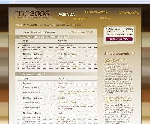 MicrosoftPDC Timeline Screen -
