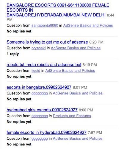 New AdSense Forum Spammed
