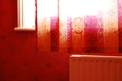 Morning sunlight on your day off (mendhak) Tags: morning red wallpaper sunlight holiday wall work bright curtain sleepy heater radiator kregg klegg menstruationred mendhakwallpaper mendhakwebsite