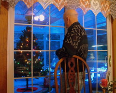 Dad admiring his Christmas  room... (**Ms Judi**) Tags: christmas door wood family blue decorations red house holiday man tree love home window senior beautiful reflections happy lights cozy chair dad december candle good lace awesome crochet bald peaceful happiness scene christmastree grandpa christmaslights parent memory rug lovely charming magical soe hoiday windowpane parentshouse throughthewindow mesmerizing christmasscene christmasrug