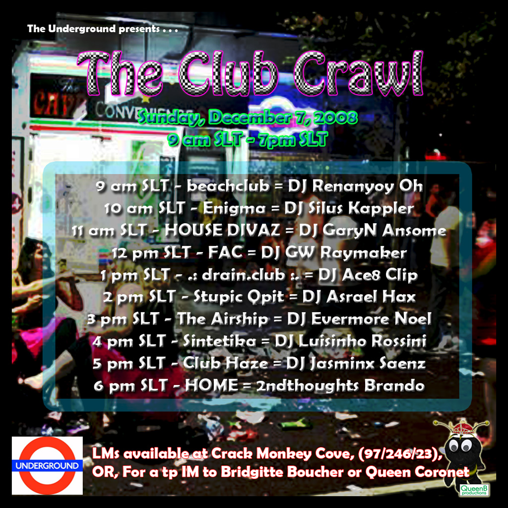The Club Crawl Flyer for 120708