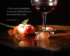 We Will Praise Your Love More Than Wine... (honey 77) Tags: pink stilllife flower love rose petals wine god jesus lord delight inspirational praise scriptures winegoblet inspiks|inspirationalpictures songofsongs14