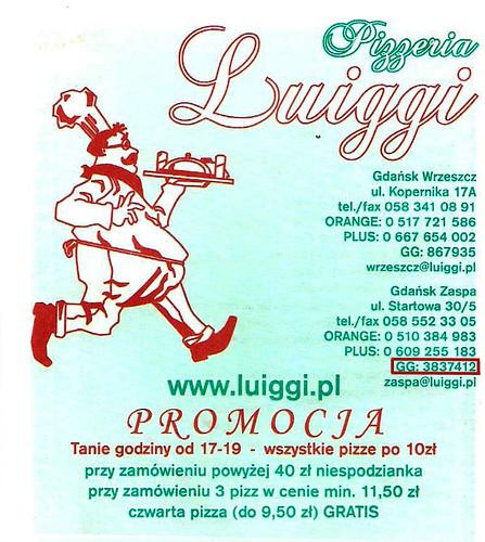 Pizzeria Luiggi en Gdansk que ofrece este servicio