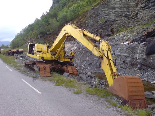 Skogsvrak Landskap med gravemaskiner