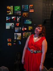 silly pose next to my art (Opal in the rough) Tags: art photography gallery group opening waukesha wi spontaneous fridaynightlive buyme soexciting opalintherough melanievyvyan ilovemyfriendsandfamily debutshowing soldfourpiecesthefirstday