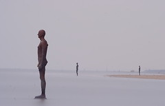 Another Place, Crosby Beach, Liverpool (Two Minutes Long Exposure) (i.rashid007) Tags: uk longexposure beach liverpool artistic nd crosby antonygormley moulded anotherplace twominutes crosbybeach neutraldensityfilter lifesizefigures 100castironfigures