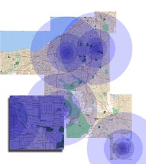 Heat map we used for house hunting, with hotspots placed at locations we need to drive to