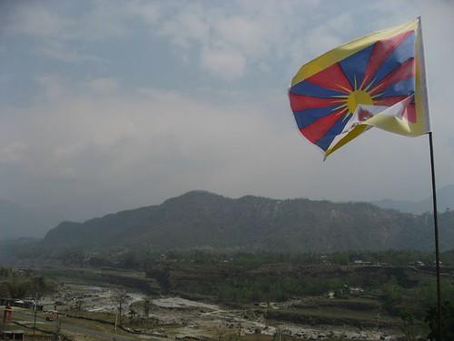Tibetan flag flying atop monastic school