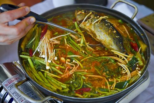 쏘가리매운탕 Korean hot-pepper mandarin fish stew