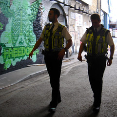 Graffiti police (zoer) Tags: uk london wall painting graffiti freedom banksy tunnel policemen zoer leakestreet cansfestival robingunningham