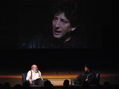 Neil Gaiman at MIT (rekha6) Tags: history comics mit theory books fantasy sciencefiction presentation discussion lecture cms neilgaiman henryjenkins comparativemediastudies