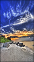 Punggol Beach II (Darrell Neo) Tags: longexposure blue sunset sky panorama orange cloud plant seascape tree beach grass skyline landscape coast sand rocks dramatic 1022mm dri canon1022 digitalblending supershot tonemapped punggolbeach 5exposures golddragon mywinners vertorama silkyeffect darrellneo