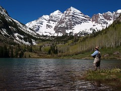 Shane Morrison at Maroon Bells (Kristen Morrison Photography) Tags: lake snow mountains water colorado bluesky flyfishing snowymountains maroonbells mountainrange angling shanemorrison