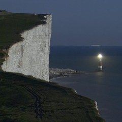 Beachy Head Lighthouse (Alex Bamford) Tags: longexposure moon lighthouse sussex fullmoon moonlit moonlight whitecliffs beachyhead moonlighting dontlookdown interestingness425 explored i500 alexbamford thebigbambooly wwwalexbamfordcom