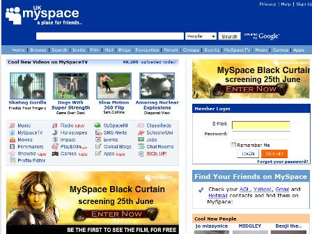 Old MySpace homepage